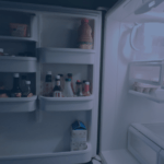 a refrigerator with the door open